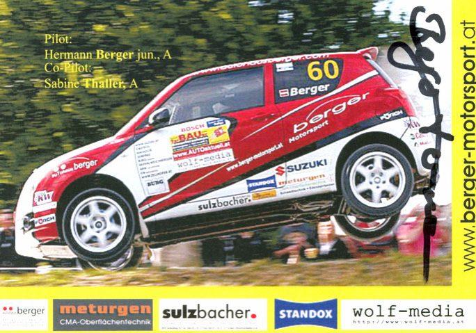 Suzuki Swift Sport, #60, Bosch Super Plus Rallye 2007, 14,6 x 10,0 cms