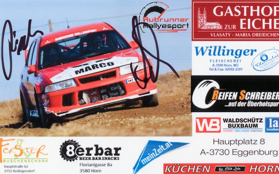 AUBRUNNER Marco - FISCHER Christoph, Mitsubishi Lancer EVO 6.5, #15, 7. Schneerosen Rallye 2017, 14,5 x 8,8 cms