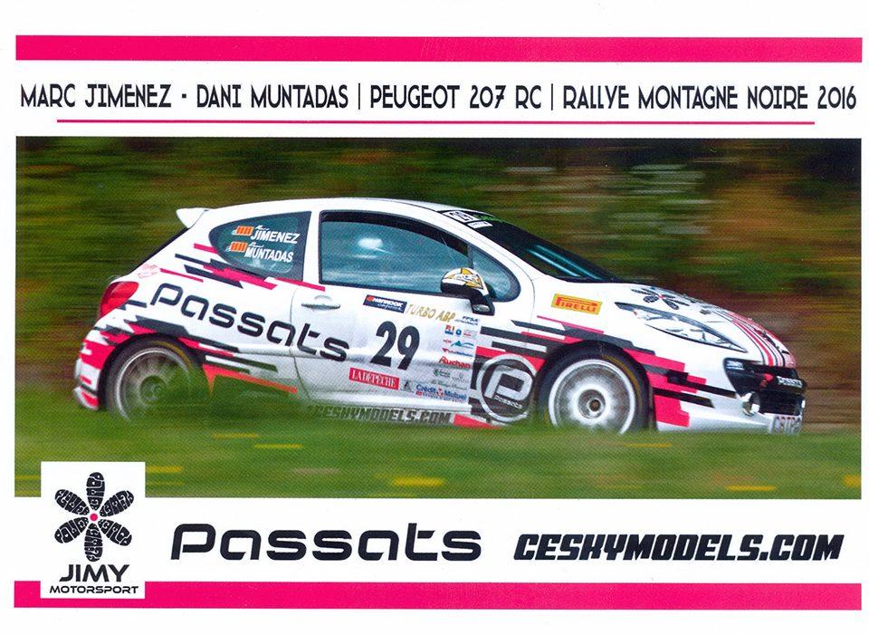 JIMENEZ Marc - MUNTADAS Dani, Peugeot 207 RC R3T, #29, 37. Rallye National Montagne Noire 2016, 20,9 x 14,8 cms
