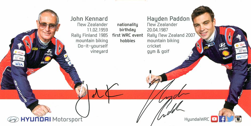 Hyundai Motorsport 2016 - Hyundai i20 WRC, presentation card 2017, 21,0 x 10,5 cms