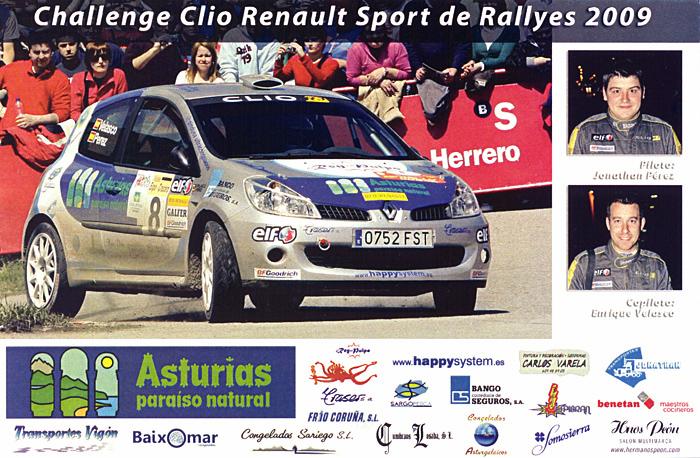 PÉREZ Jonathan - VELASCO Enrique, Renault Clio R3, #8, 29. Rallye Villa de Tineo 2009, 15,0 x 10,0 cms