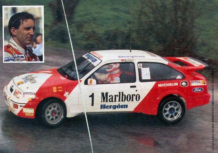 PURAS Jesús - AGUARDO Tomás, Ford Sierra RS Cosworth, #1, 11. Rally Ciudad de Santander 1989, 14,8 x 10,5 cms